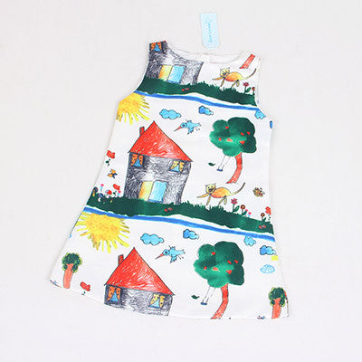 Girls Dress Summer Kids Clothes Children Clothing Character Pattern Sleeveless-iuly.com