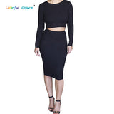 Colorful Apparel Autumn Winter 2 Piece Set Women Long Sleeve Party Dresses Sexy-iuly.com