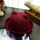 Cute Cat Ears Hats For Women Vintage Jazz Bowler Felt Fedora Autumn Winter-iuly.com