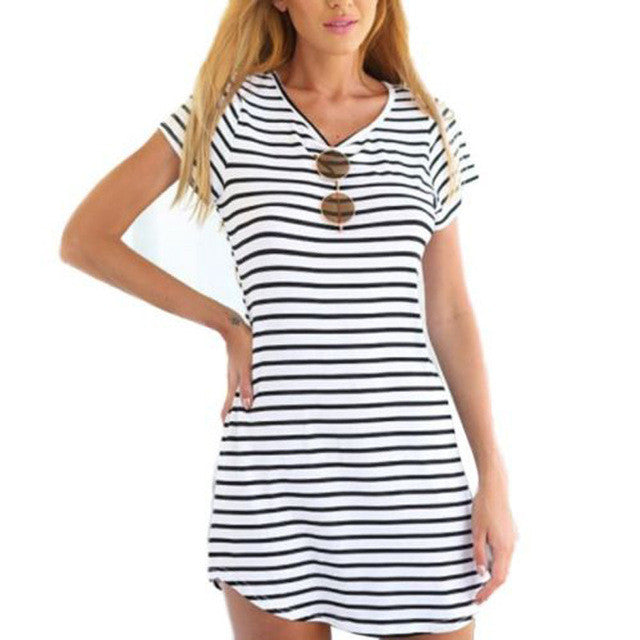 Summer Style Women Casual Black White Stripe Dress Short Sleeve O Neck Mini-iuly.com