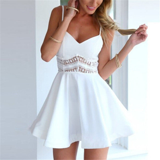 White Black Summer Women Sexy Strap V Neck Crochet Lace Waist Skater Dress Casual-iuly.com