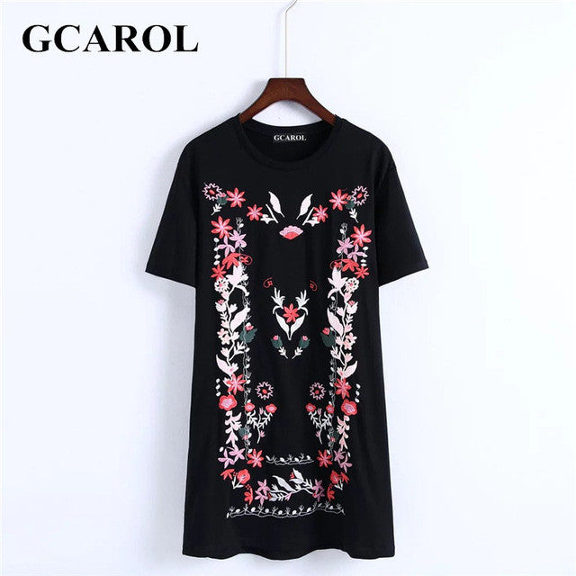 Women Floral Embroidery Jacquard Dress Euro Style Casual Black Dress Eearly-iuly.com