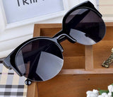 Hot Vintage Sunglasses Retro Cat Eye Semi-Rim Round Sunglasses For Men Wome-iuly.com