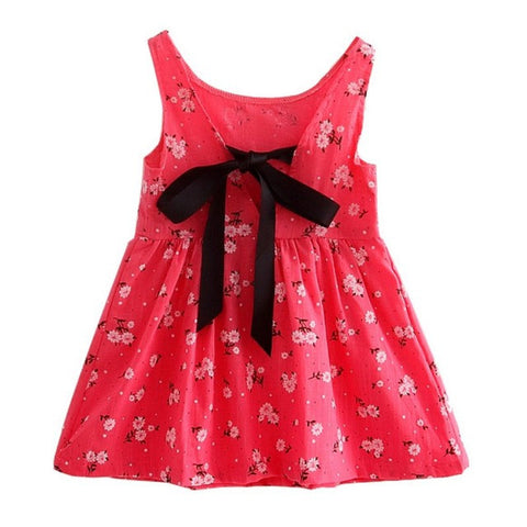 Children Summer Dress Kids Teens Sleeves Printing Kids Girl Pattern Cotton Dress-iuly.com