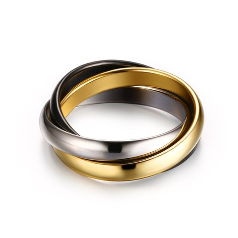 Classic 3 Rounds Ring Sets Women Stainless Steel Wedding Engagement Female-iuly.com