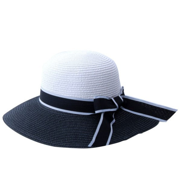 Chic Women Retro Black&White Wide Brim Straw Sun Hat Lady Summer Travelling-iuly.com