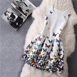 Cartoon Castle Summer Sleeveless Girls Print Dress Knee Length Princess A-Line-iuly.com