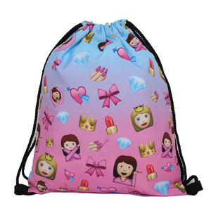3D Printing Backpack Unicorn Pattern Women Drawstring Bag Skd90-iuly.com