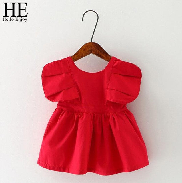 Enjoy Baby Dresses Girl Summer Red Sleeveless Birthday Party Princess-iuly.com