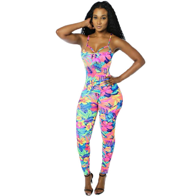Color Print Rompers Womens Jumpsuit Summer Straps Backless Long Pants Sexy-iuly.com