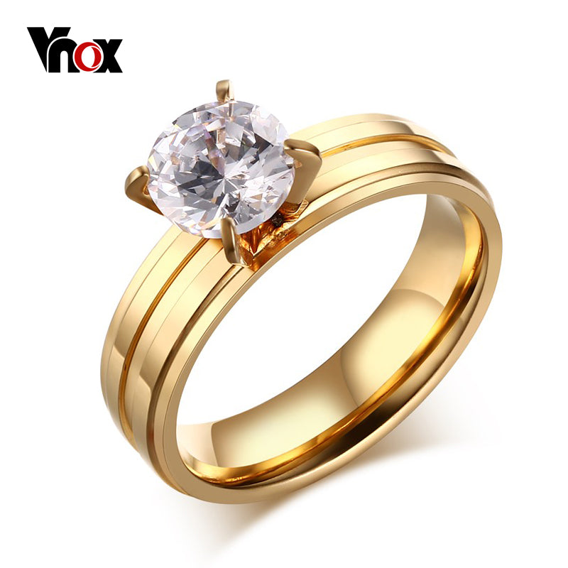 Cz Engagement Ring Women Stainless Steel Wedding Ring Prong Setting Female-iuly.com