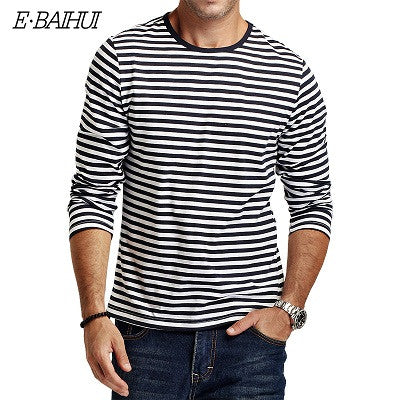 Autumn Casual Striped T Shirt Men Long Sleeve Men'S T Shirts Slim Fit Mens-iuly.com