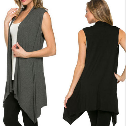 Autumn Women Long Cardigan Knitted Sleeveless Open Stitch O-Neck Outwe-iuly.com
