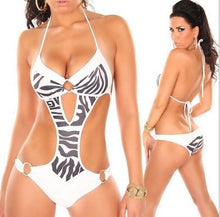 Load image into Gallery viewer, Bikini Women Black Blue Hollow Beach Wear Trikini Swimwear Padded Up Bikini-iuly.com