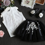 Kids Baby Girls Clothing Sets Summer Fashion Style Cartoon Kitten Printed T-Shirts+Net-iuly.com