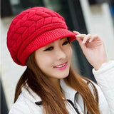 Elegant Womens Winter Rabbit Fur Hat Female Fall Knitted Hats For Woman-iuly.com
