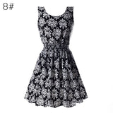 S M L Xl Xxl Xxxl Summer Women Casual Bohemian Floral Sundress Printed Sleeveless-iuly.com