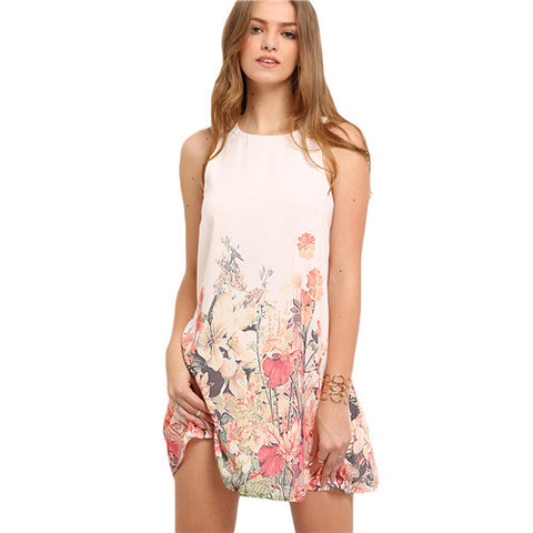 Ladies Multicolor Sleeveless Flower Print Boho Dresses Womens Summer Round Neck-iuly.com
