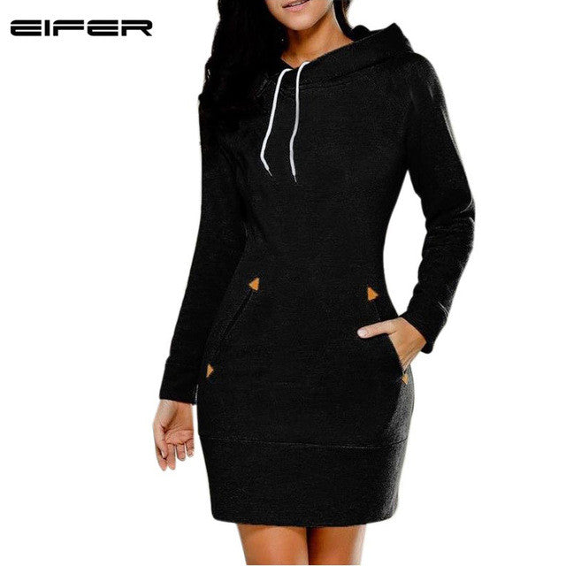 Warm Winter High Quality Hooded Dresses Pocket Long Sleeved Casual Mini Dress-iuly.com