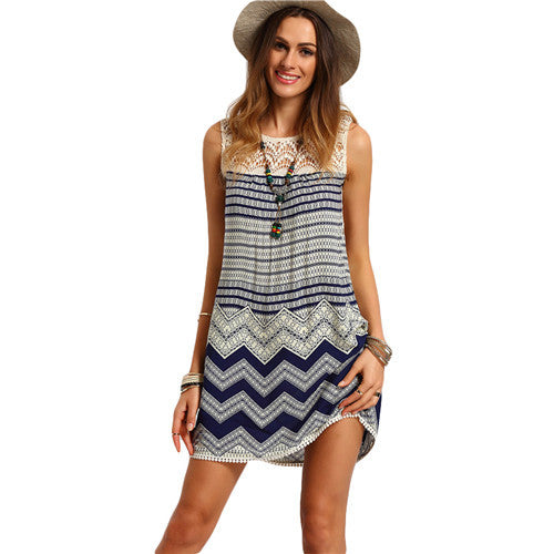 Boho Dresses Beach Women Striped Multicolor Sleeveless Print Lace Yoke Shift-iuly.com