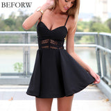 Summer Stitching Lace Halter Suspenders Big Swing Party Dress Women Casual V-iuly.com