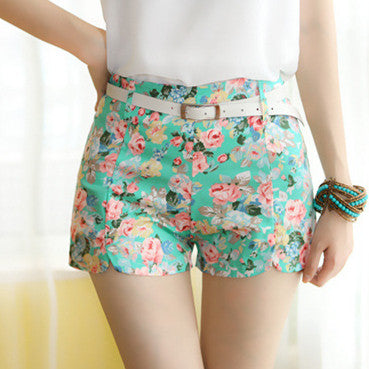 Elastic Chiffon Women Shorts Blue Flower Pattern Waist Summer Girl Cot-iuly.com