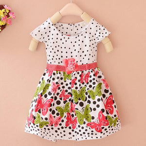 Baby Girls Dress Cotton Dot Flora Print Summer Baby Clothes Princess Dress-iuly.com