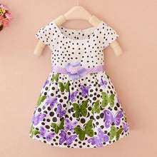 Load image into Gallery viewer, Baby Girls Dress Cotton Dot Flora Print Summer Baby Clothes Princess Dress-iuly.com