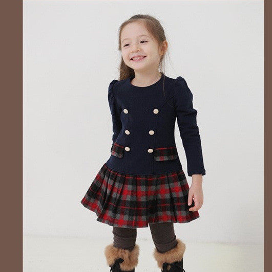 Baby Girls Dress Spring Autumn Plaid Full Sleeve Children Kid'S Campus School-iuly.com