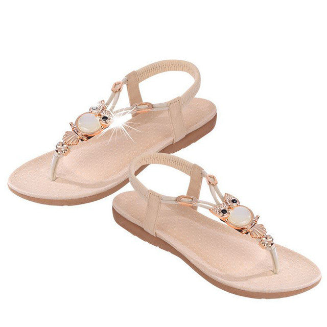 Bohemian Beaded Women Flat Sandals Clip Toe Quality Sexy Sandals Ladies Shoes-iuly.com