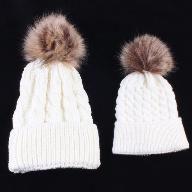 2Pcs Winter Mom And Daughter Matching Knitted Beanie Cap Keep Warm ... f83dd78ec91