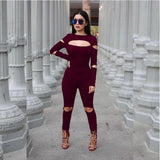 Elastic Black Winered Back Zipper Spring Summer Rompers Women Jumpsuit-iuly.com