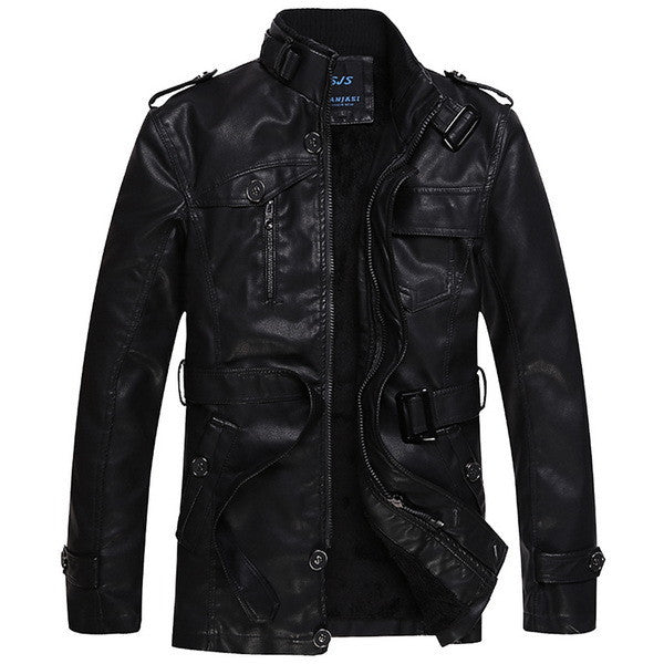 Fashion Jacket Men Leather Casual Outerwear Size L-3Xl Middle Length Man Slim-iuly.com