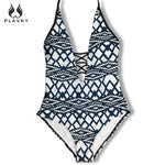 Lady Retro V Neck Striped Monokini Hign Cut Trikini Swim Bathing Suit Bodysuit-iuly.com