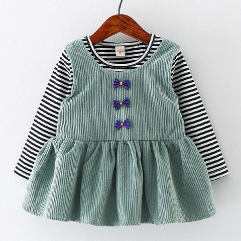 Baby Girls Dress Black And White Stitching Sleeve Small Bow Princess Dress Children-iuly.com