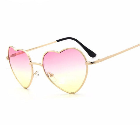 Heart Shaped Sunglasses Women Red Ladies Metal Reflective Lenes Sun Glasses-iuly.com