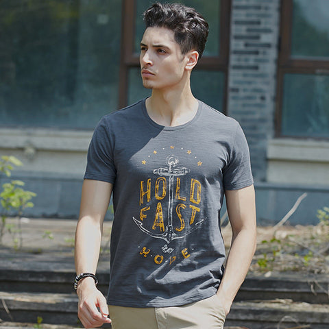 Bamboo Cotton Printed T-Shirt Mens Anchor %Cotton T Shirt Comfortable&Breathable-iuly.com