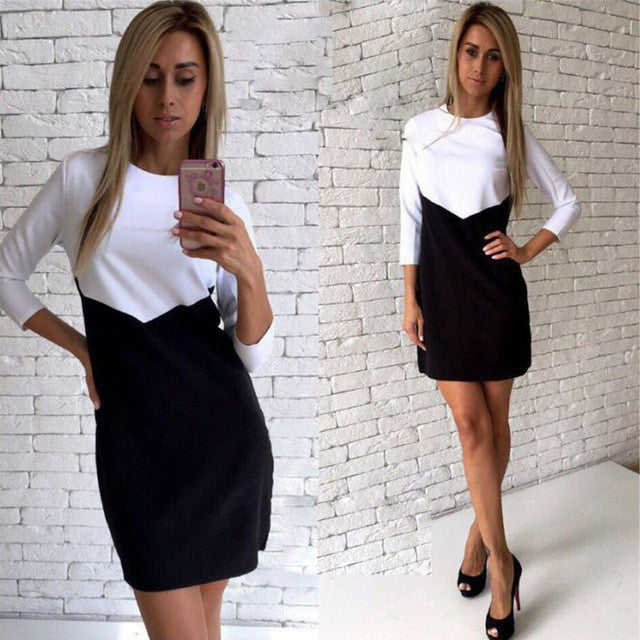 Elegant White Black Patchwork Office Dress Women Summer Casual There Quarter-iuly.com