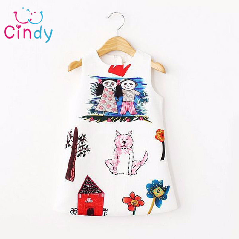 Baby Girls Dress Winter Scrawl Print Dress For Girls Clothes Kids Dresses-iuly.com