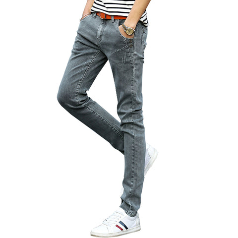 Spring Autumn Men'S Jeans Grey Slim Fit Pencils Jeans Man Buttons Bike-iuly.com