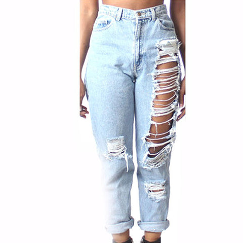 Womens Destroyed Denim Ripped Hole Waist Jeans Pants Pencil Trousers-iuly.com