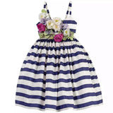Girls Dress Striped Navy Flower Dress Strap Sleeveless Cotton Dress Fashion-iuly.com