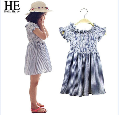 Enjoy Girls Clothes Summer Casual Girls Dress Princess Short Sleeve Striped-iuly.com