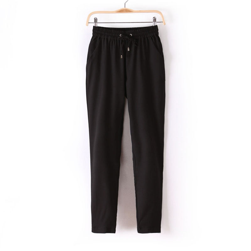 Chiffon Pants Summer Women Pants Casual Harem Pants Drawstring Elastic-iuly.com