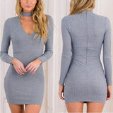 Autumn Dress Women Long Sleeve Sexy Party Black Knitted Dress Casual Bodycon-iuly.com