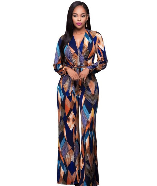 Autumn Elegant Print Women Rompers Jumpsuit Fashion Long Sleeve Sexy V-iuly.com