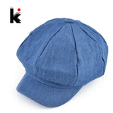 Design Newsboy Caps Womens Washed Denim Casual Hat Octagonal Cap Autumn-iuly.com