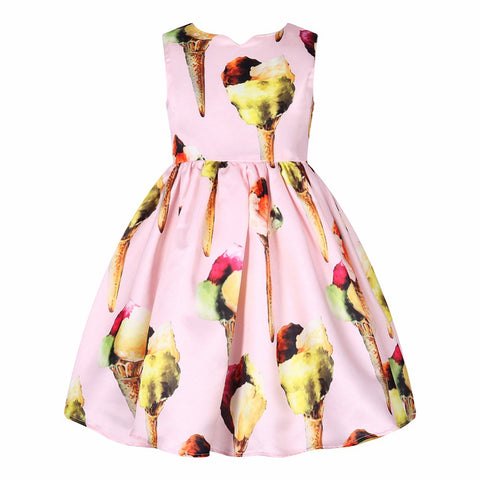 Toddler Dress Robe Princesse Fille Girls Summer Dresses Ice Cream Print Costumes-iuly.com