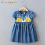 Girls Denim Dress Summer Children Clothing Cat Patchwork Appliques Demin Dress-iuly.com