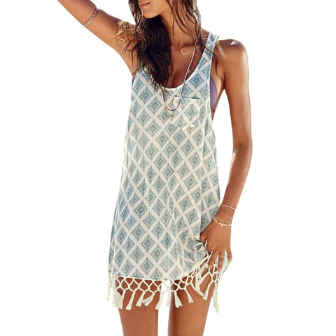 Boho Women Sleeveless Print Short Mini Dress Beach Summer Tassel Dresses-iuly.com